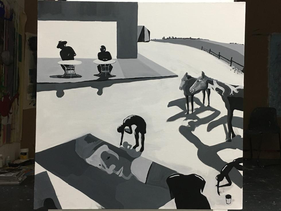 'A Romantic Road' - Gauche on Canvas 50x60cm