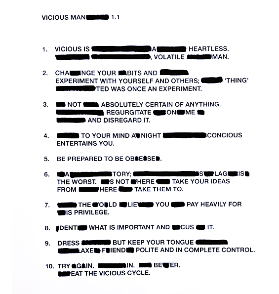 Conrad Armstrong, Vicious Collective, Web Site. Manifesto