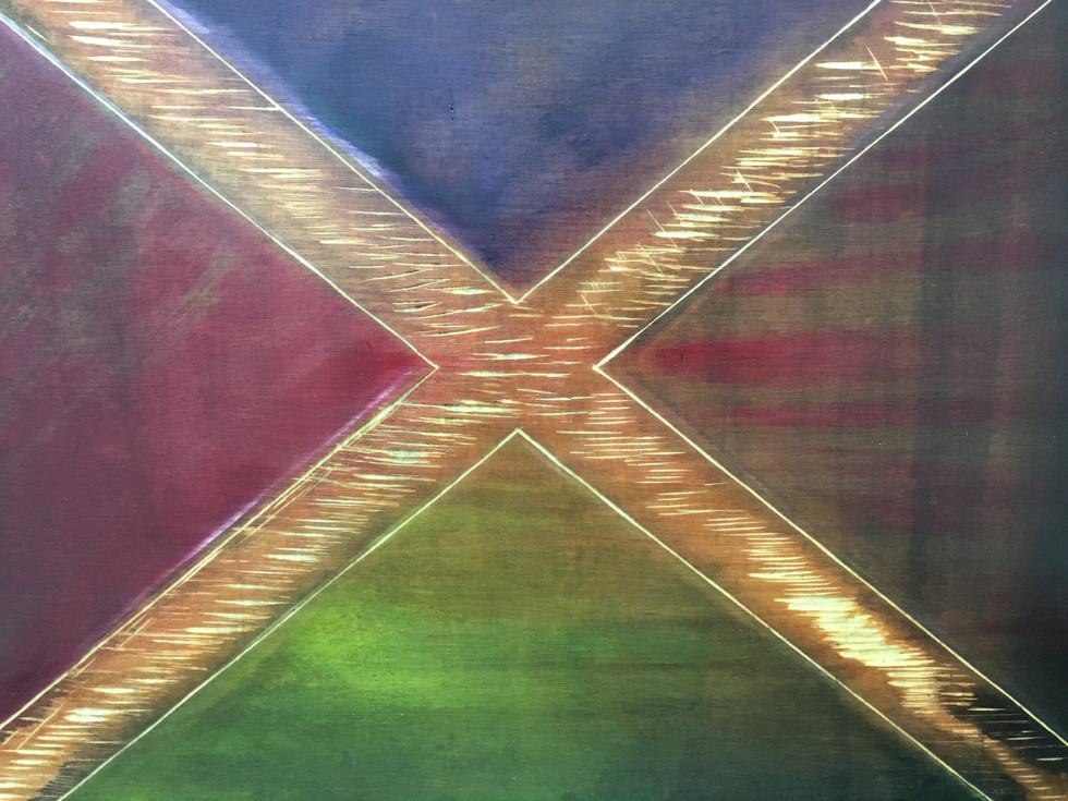 'Scared by Scotland' - Oils and Woodcut 70x40cm.