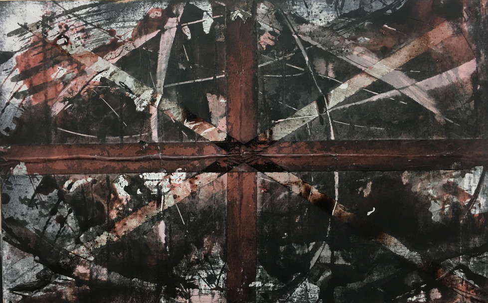 """""""A Piece on War"""" - Black and white primed ply-board, mounted supports, indian ink, masking-tape and celo-tape 80x50cm"""