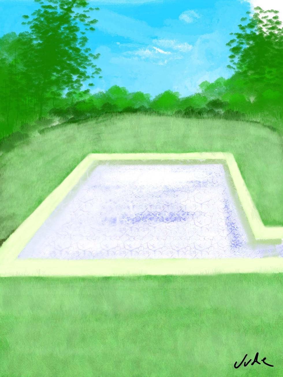 Secluded Swimming Pool - Stylus on iPad Procreate