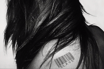 slave barcode, sex trafficked girl