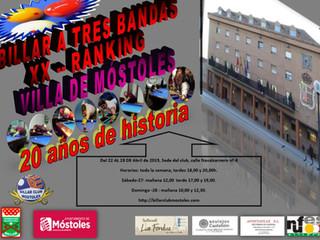 20 AÑOS DE HISTORIA DE NUESTRO RANKING DE BILLAR A 3 BANDAS VILLA DE MOSTOLES