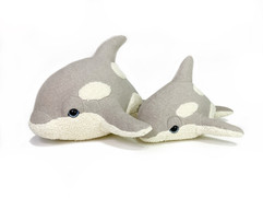 Taupe Killer Whale Plush -Organic Baby Orca
