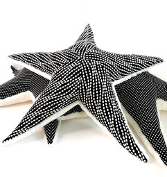 Black Starfish Pillow - Handmade Texture Sea Star Plush