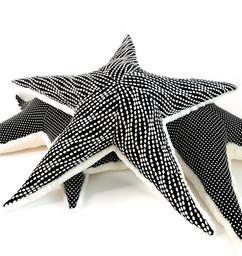 Black Starfish Pillow - Handmade Texture Sea Star Plush