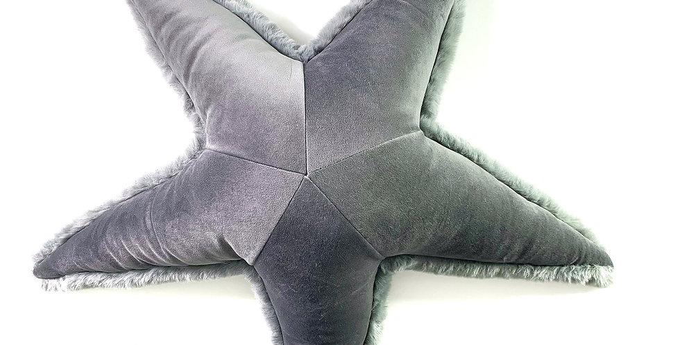 Gray Starfish Pillow - Handmade Sea Star Plush