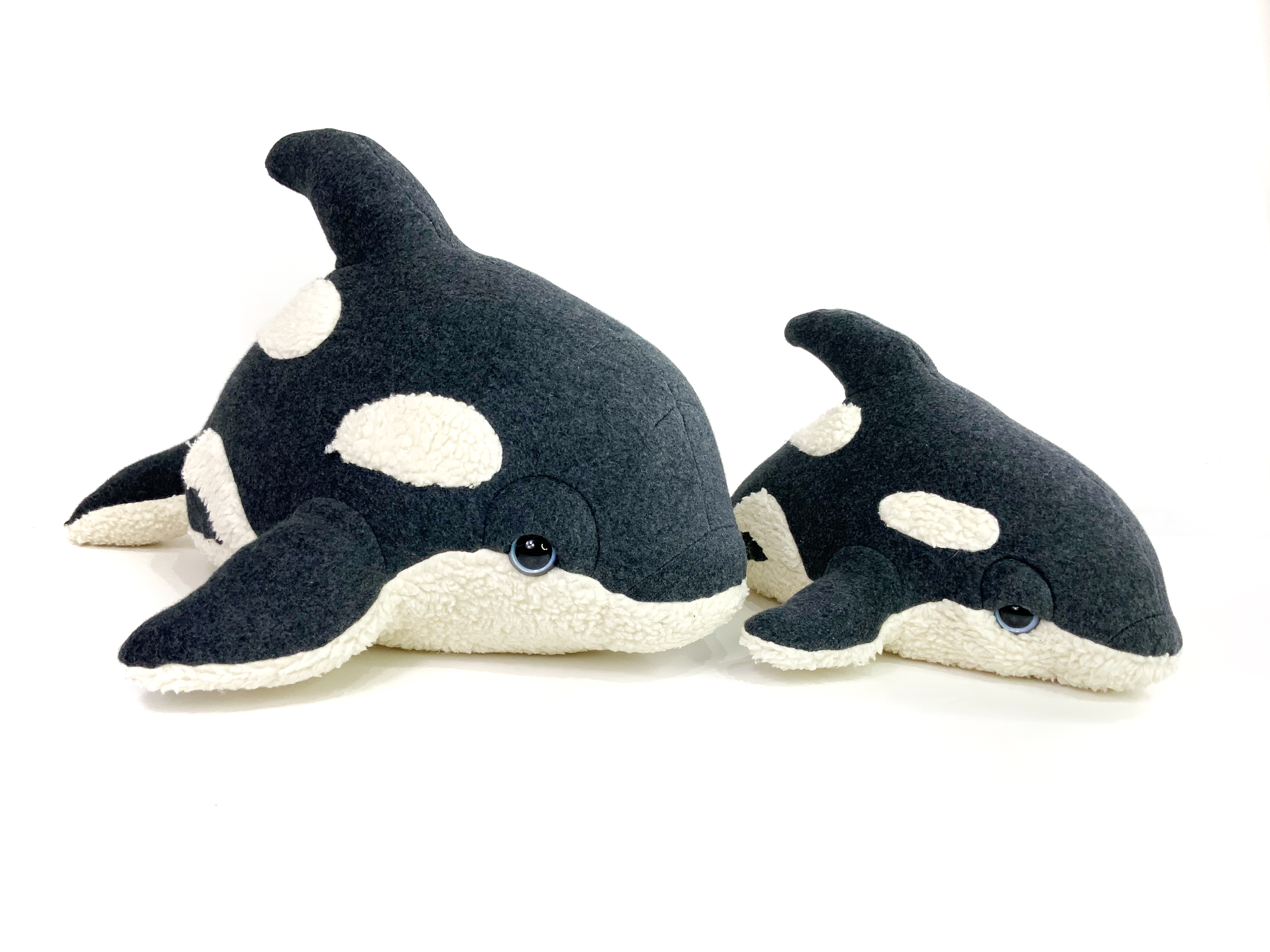 Handmade Killer Whale Plush - Organic Cotton Baby Orca Toy - Georgia Baby Orca