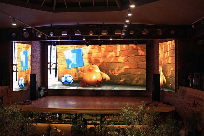 LED screens on the stage Cinema cafe TREF, Odessa