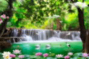 3D beautiful backgrounds sea and waterfa