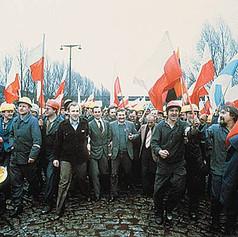 Une manifestation de solidarnosc en Pologne
