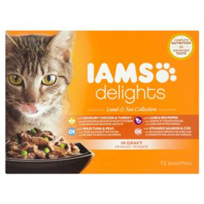 Iams Cat Delights Land & Sea Collection In Gravy (12x85g)