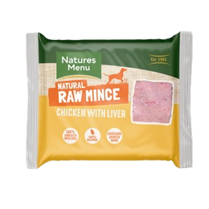 Natures Menu Frozen Chicken and Liver Mince 400g
