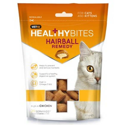 M & C Vet IQ Healthy Bites Hairball Remedy Cat Treats 65g