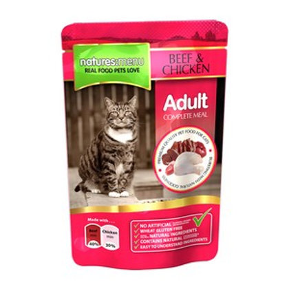 Natures Menu Cat Pouch Adult Beef and Chicken 100g