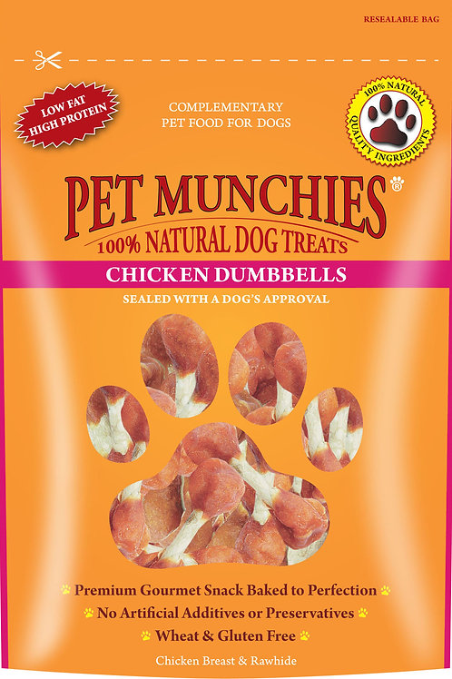 Pet Munchies Chicken Breast Rawhide Dumbbells