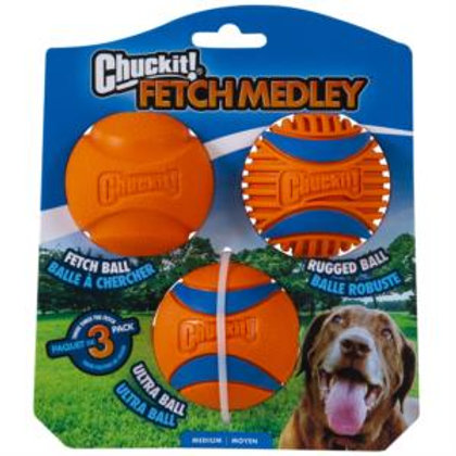 Chuckit Fetch Medley - 3 Pack Medium 6.5cm