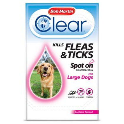 Flea Clear Spot On for Large Dogs (3 Pipettes)