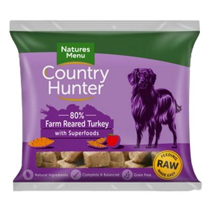 Natures Menu Frozen Country Hunter Farm Reared Turkey Dog Nuggets 1kg