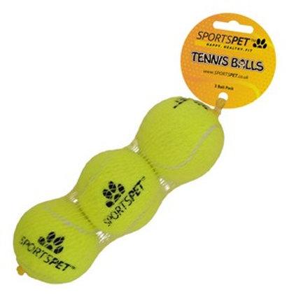 Sportspet Tennis Ball Medium 3 pack Yellow