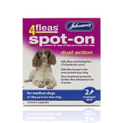 4 Fleas Spot On Medium Dog 250mg