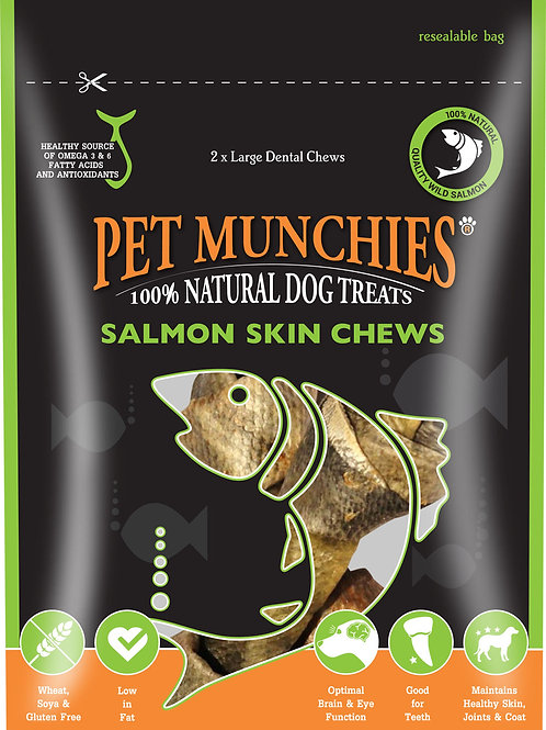 Pet Munchies Salmon Skin Chews- Large