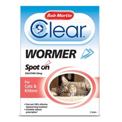 BM Clear Spot On Wormer For Cats (2 Tubes)