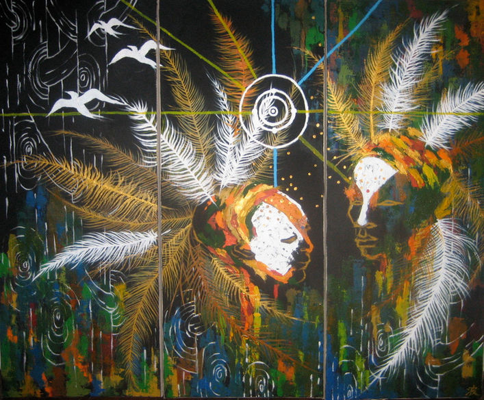 """""""Birds"""" Acrylic on canvas 25 x 58 in. x 3  Left two pieces are available."""