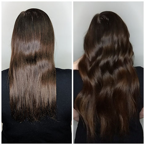 nano bead hair extensions before and after