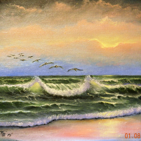 Sunset at Ormand Beach   Oil   12 x 16