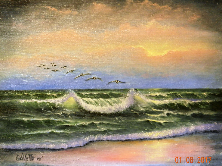 Sunset at Ormand Beach | Oil | 12 x 16