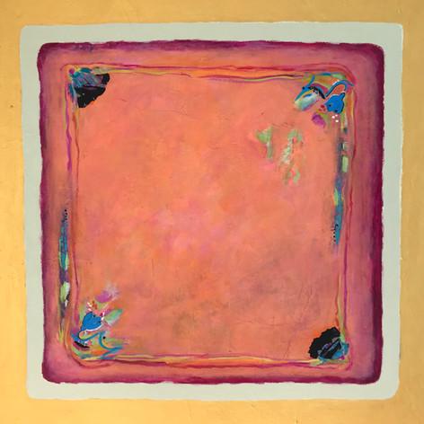 Granny's Hanky   Acrylic Mixed Media Gold Leaf Border   36 x 36