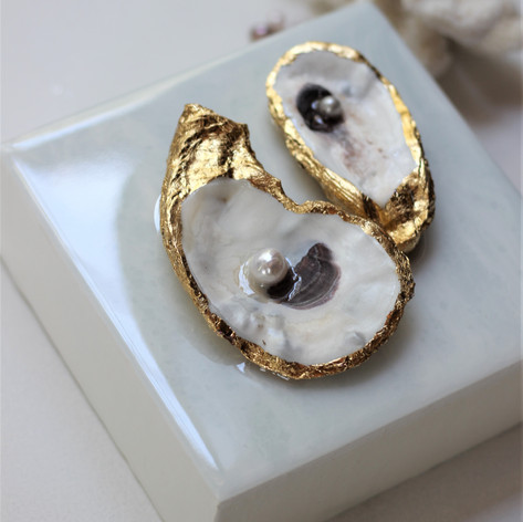 Oyster Mini No. 488 | Resin, Oyster & Pearls | 6 x 6