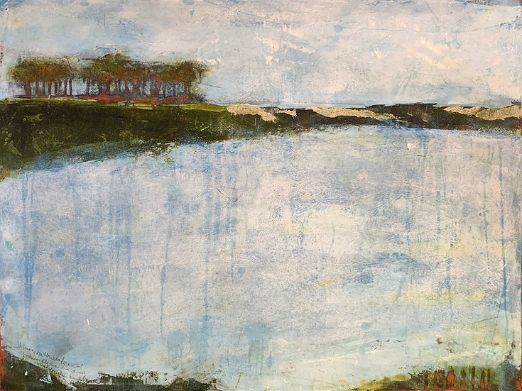 Western Lake | Cold Wax & Oil | 40 x 30