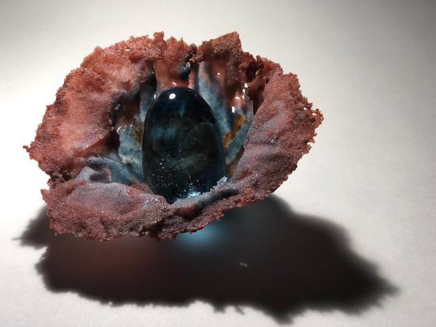 Ocean Flower V | Sand cast pate de verre, hot sculpted glass | 5.5 x 6 x 3.75