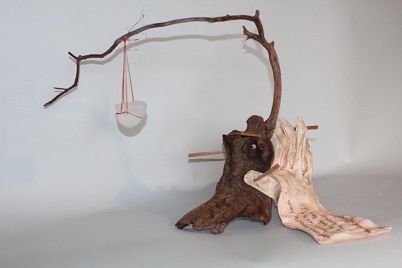 Why Dost Not Speak? | Cast Glass, Wood, Leather, Rafia | 18 x 12 x 12
