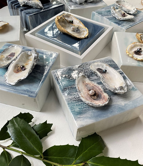 Genuine Oyster Art | Resin, Genuine Oyster & Pearls | 6 x 6