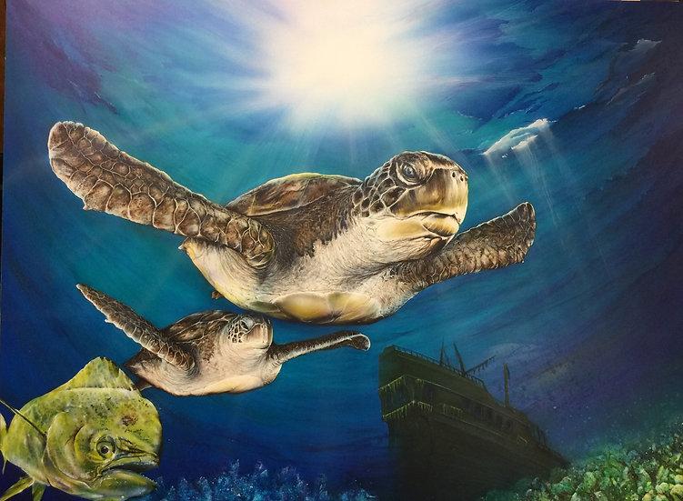 Sea Turtle III | Airbrush Acrylic | 18 x 24