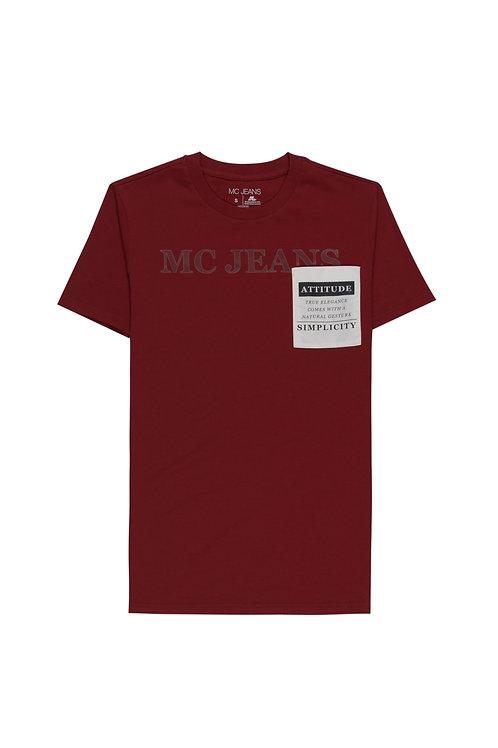 Mc Jeans เสื้อยืดผู้ชาย แขนสั้น สีแดงเลือดหมู