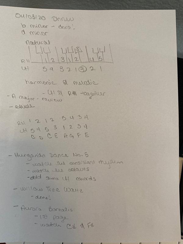 Music lesson feedback