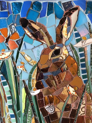Summer Hare with Orange Butterfly Tile