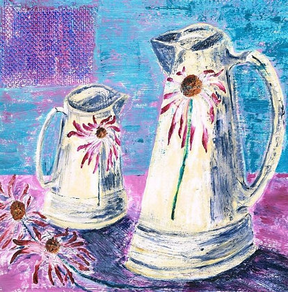 Still Life With Echinacea Jugs