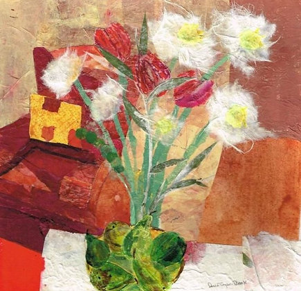 White Flowers with Red Chair