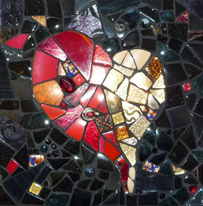 Red and Gold Heart Wall Tile
