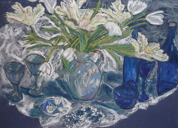 Blue & White Still Life with Parrot Tulips