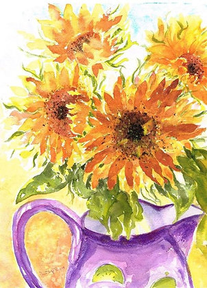 Purple Jug With Sunflowers