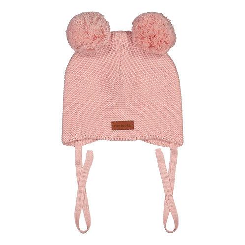Cotton Baby Beanie, 2 pompom, ballet