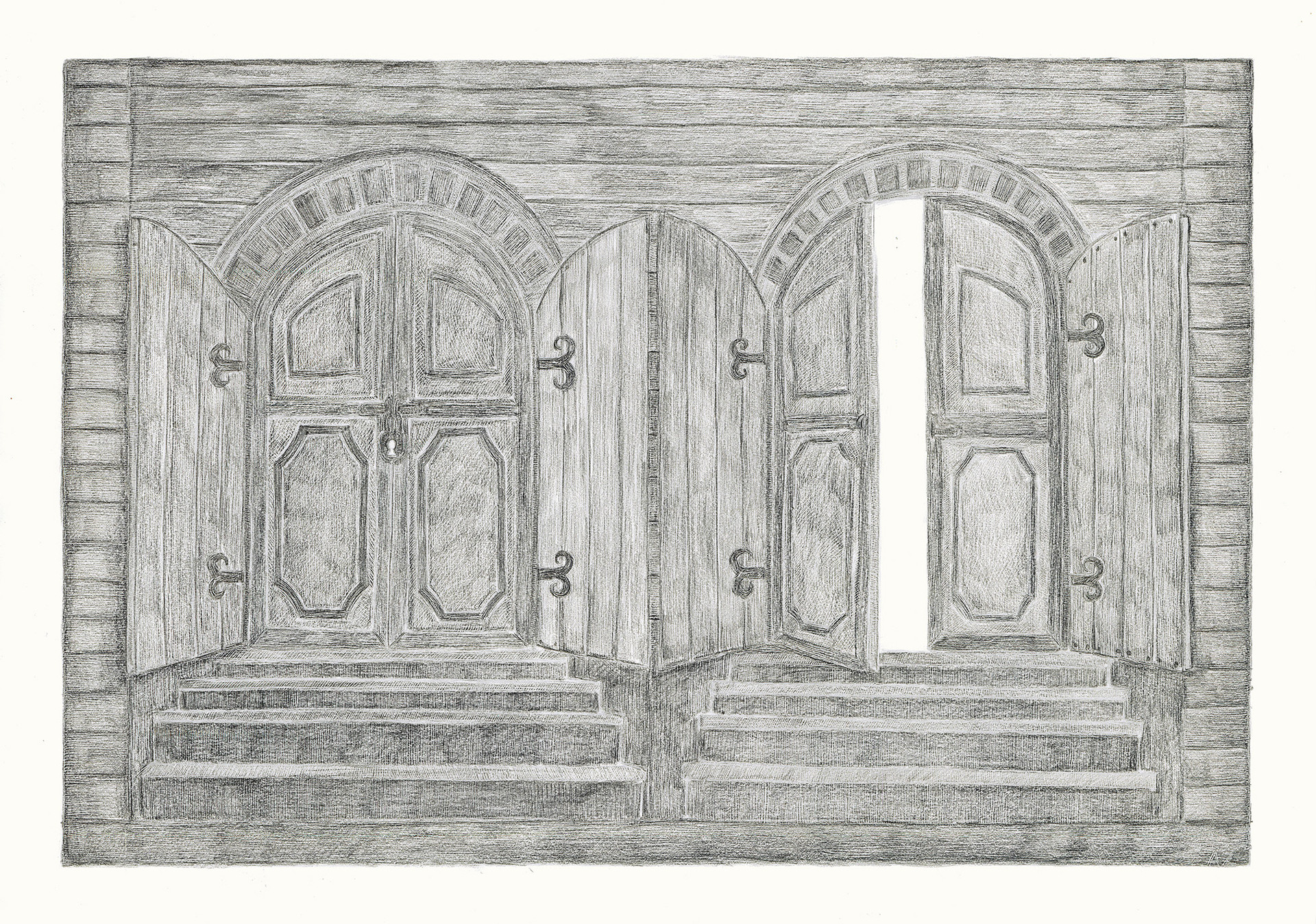 Two Gates, 2012. Pencils on paper, 42 × 59.4 cm