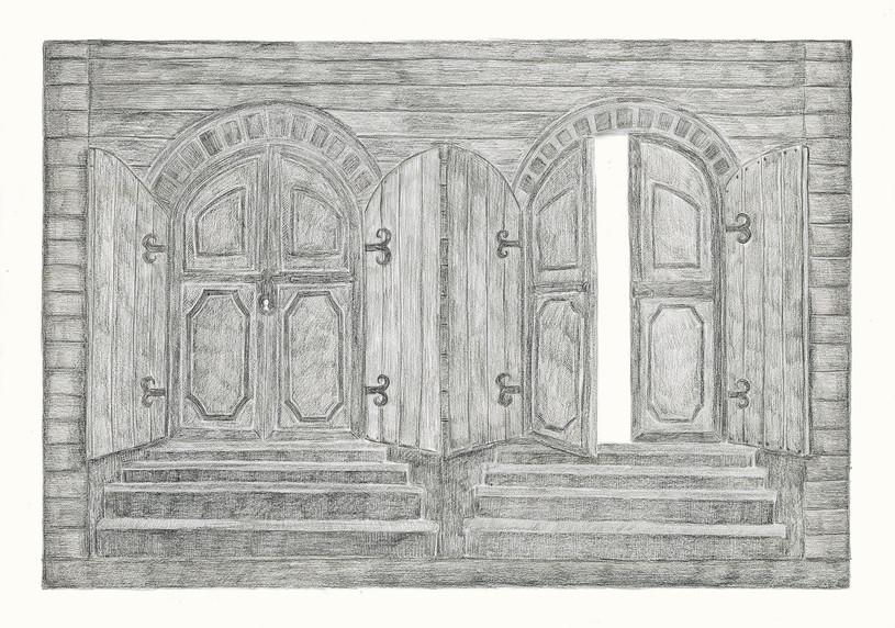 Two Gates, 2012. Pencils on paper, 42 × 59.4 cm