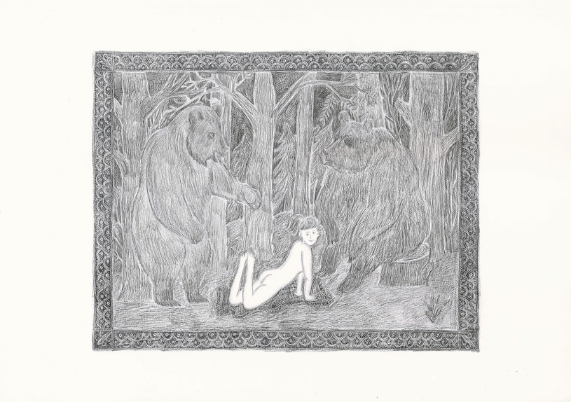 Girl with Two Bears, 2012. Pencils on paper, 29.7 × 42 cm